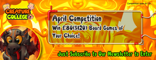 Win a Boardgame Banner April